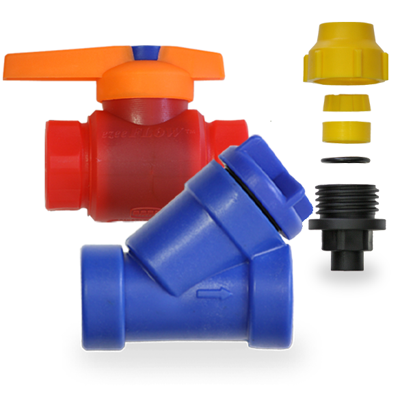 Eziflow plastic valves as manufactured by Plastinternationas a plastic injection moulding company in South Africa